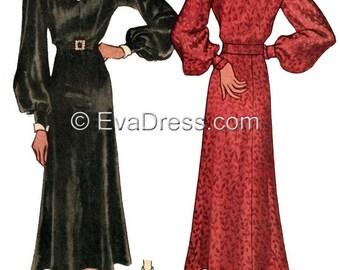 1936 Unique Shirtwaist Dress Pattern by EvaDress