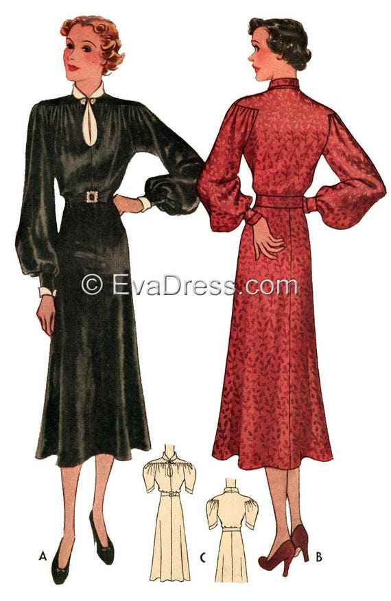1930s Dresses, Clothing & Patterns Links 1936 Unique Shirtwaist Dress Pattern by EvaDress $20.00 AT vintagedancer.com