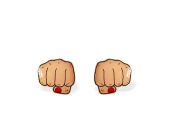 Fist Earrings Resist Fist Stud Earrings - Women's Fist Bump Punch - Clenched Fist - Solidarity - Punching Fist - Girl Power Punch  Fist