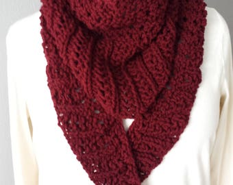 Hand Knitted Kerchief Scarf in Burgundy