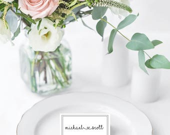 Simple white and black wedding Place Card
