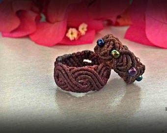 Macrame ring \handmade micromacrame