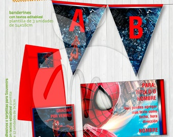 SPIDERMAN Super Hero!! Printable and editable texts kit for your party! INSTANT DOWNLOAD!
