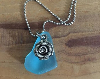 Blue Rose Charm Necklace
