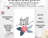 Scripture & Prayer Journal Planner Inserts - Create Your Own Bible Study Planner - INSTANT DOWNLOAD Prayer Sermon Notes A5 Size Half Sheet