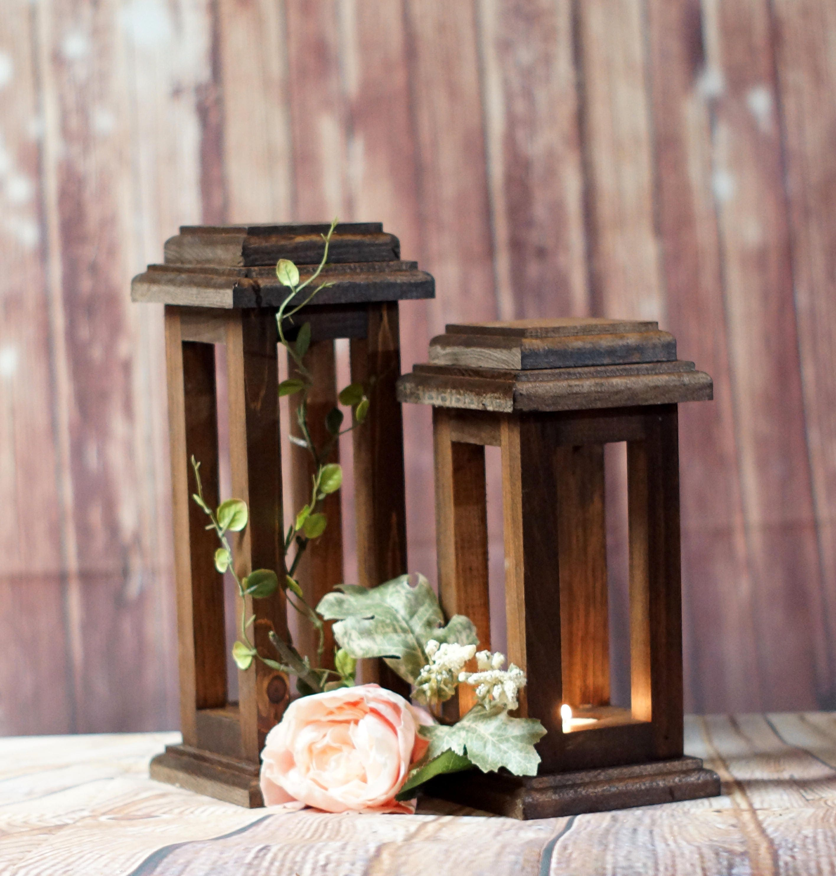 Reclaimed Wood Lanterns Rustic Thanksgiving Decor Rustic