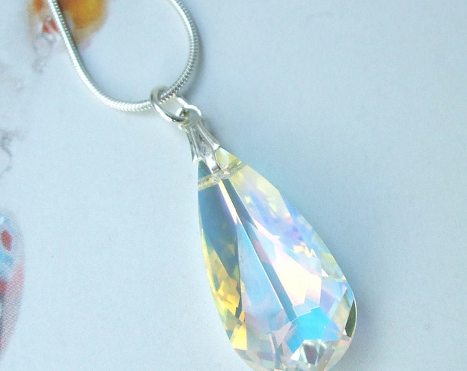 AB Swarovski Crystal teardrop Necklace on a Sterling Silver chain of choice