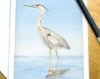 Heron Card, Watercolor Bird Card, Bird Greeting Card, Heron Greeting Card, Great Blue Heron Card, Blue Heron Card, Watercolor Heron Card