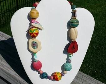 Vintage unusual asymmetrical beaded necklace