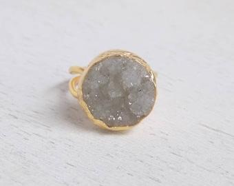 Druzy Ring, Light Gray Druzy Ring, Crystal Ring, Large Gemstone Ring, Gold Stone Ring, Adjustable Ring, Statement Ring, Drussy Ring, D2-22