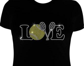 Tennis T shirt, Rhinestone, Love Tennis shirt,