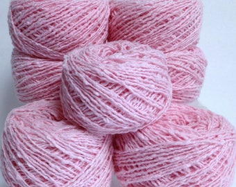 Patons Cotton Yarn Wavey Pink Yarn Bundle, 100% Cotton Yarn Destash Pink Cotton Conch Shell Pink Textured Yarn for Knitting Fiber Art Bundle