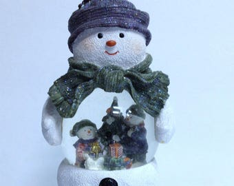 Vintage Snowman Snow Globe Art for Christmas Decor Gift for Snowman or Snowglobe Collector Christmas Tree & Bellyful of Gifts Jolly Snowman!