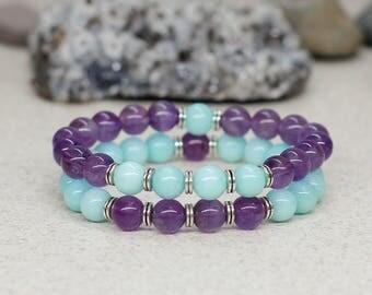 Gemstone bracelet Yoga bracelet Yoga jewelry Meditation bracelet Healing crystal bracelet Friendship bracelet set Beaded bracelet stack Gift