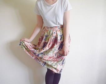 Vintage Skirt, 90s Floral Skirt Large, High Waist Skirt, Long Skirt With Abstract Print
