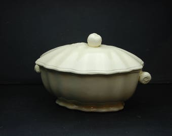 French vintage vegetable or fuit compote server dish with lid in glazed white ceramics, fruit handles, pear and apple, good condition.