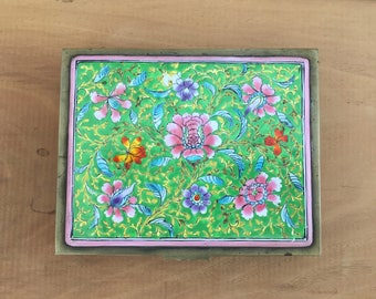 Antique Chinese Cloissone Floral Enamel Brass Box Engraved Jewelry Cigarette