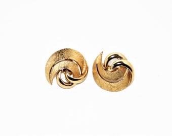 Crown Trifari Gold Swirl Earrings, Vintage Clip on Earrings, signed Trifari