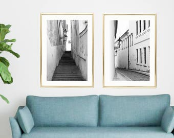 large wall art for living room. Large Wall Art Set Black and White  Living Room Prints Prague Minimalist wall art set of 2 prints Pastel mint living