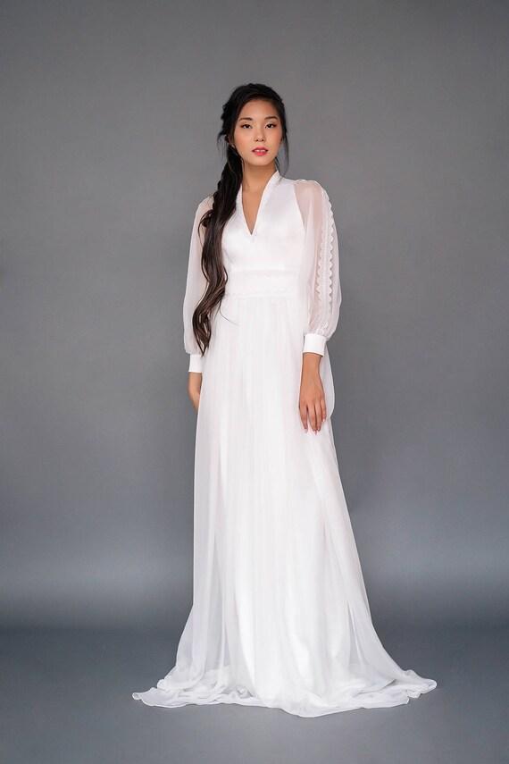 Modest Wedding Dress With Bell Sleeves Jawa Light