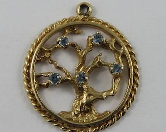 Tree of Life With Blue Stones 10K Gold Vintage Charm For Bracelet
