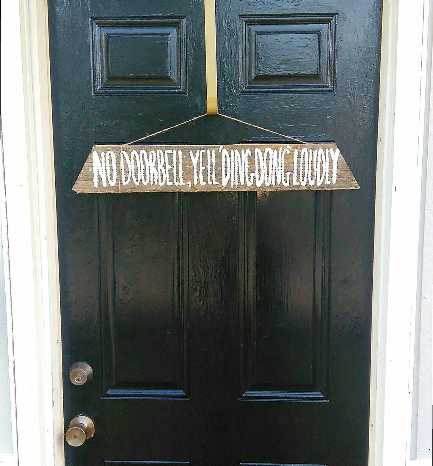 No Doorbell Yell Ding Dong Sign For Front Door Wall Decor Old