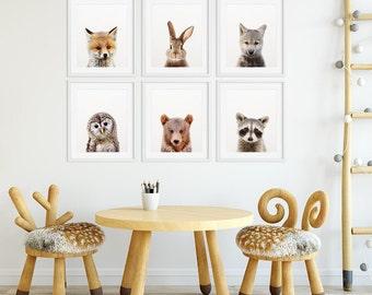 Woodland Nursery Decor, Baby Animals Set 6, Bunny Fox Bear Owl Wolf, Nursery Prints Modern Animal Art, Woodland Animals, Kids Room Printable