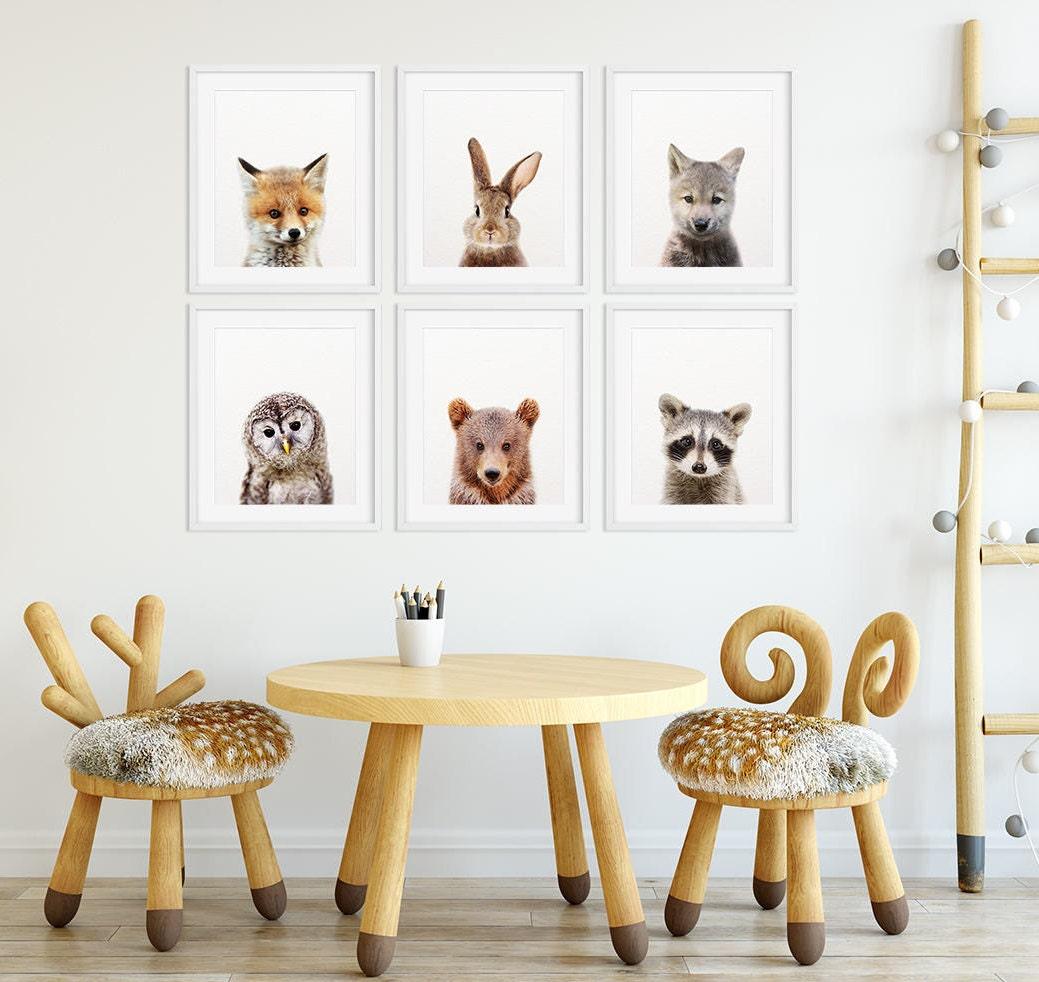 Woodland Nursery Decor Baby Animals Set 6 Bunny Fox Bear Owl