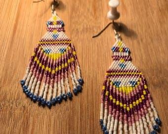 Boho earrings handmade earrings white and pink earrings beaded earrings statement earrings dangle and drop earrings chandelier earrings long