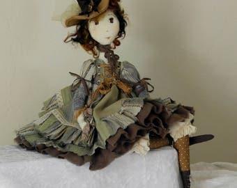 Artist doll, Handmade Doll, RAG DOLL, BJD, Textile Doll, Art Doll - Brown - rag doll, Ooak art doll handmade, Denise