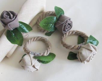 Set of 4 Wedding Napkin Rings, Flower Linen Napkin Rings, Rustic Table Decor, Rose Rings