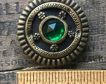 Antique Gay Nineties 90s Ornate Emerald Green Gem Button