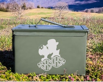 Personalized Couple Kissing with his and hers Monogram - Ammo Can