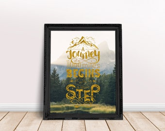 Travel Quote A Thousand Miles | Adventure Quote, Vacay, Wanderlust Quote, Wanderlust Poster, Traveler Gift, Travel Quote Poster