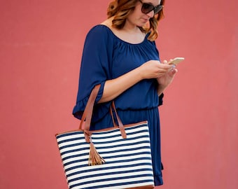Chandler Stripe Tote Bag - Personalized Chandler Stripe Tote Bag - Monogrammed Tote Bag - Tote Bag