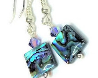 Paua Abalone Shell and Swarovski Tanzanite blue crystal Earrings