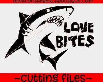 SVG cut file, Love bites svg, love bites shark svg, love bites dxf svg love bites shark File Cutting File DXF, Love bites valentines, studio