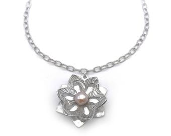 Silver & Pearl Necklace | Garden Jewelry | Silver Flower Necklace | Botanical Jewelry | Pearl Jewelry | Flower Pendant | Metal Clay Jewelry