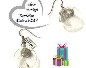 Dandelion Earrings, Glass Bubble Earrings, Good luck Gift, Silver Dandelion Drop Earring, Make a Wish Gift, Free local Shipping