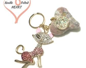 Pink Rhinestone Cat Keyring, Rustic Felted Heart Bag Dangle, Unique Keyring, Unique Handbag Charm, Cat Lover Gift, Valentine gift