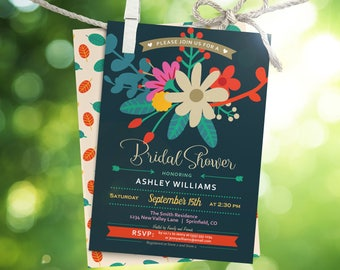 Whimsical Floral Bridal Shower Invitation - Printable DIGITAL FILE