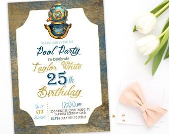 Pool Party Birthday Invitation 25th man Birthday Invitation Splish Splash swim  Instant Download  birthday Invitation nautical party idkb82