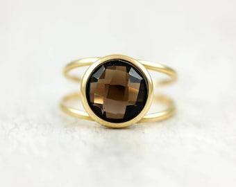 Smoky Quartz Ring, Smoky Quartz Gold Ring, 14K Solid Gold Ring, Double Gold Ring, Gemstone Gold Ring, Brown Gemstone Ring, Mothers Day 0232