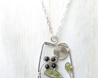 Long Silver Boho Necklace with Flower and Leaves and Sun Pendant, Peridot and Garnet Gemstone Pendant, Long Flower Pendant Necklace