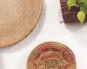 Large Pink Wall Basket / Large Vintage Wall Basket / African Wall Basket / Coiled Wall Basket / Basket Wall / Wall Basket Set