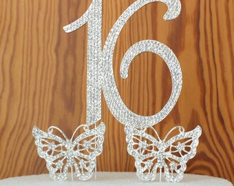 "Number ""16"" rhinestone cake topper, birthday, anniversary, cake decoration-butterfly-stars-cake picks"