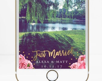 Wedding Snapchat Filter, Snapchat filter, Snapchat Geofilter, Wedding Snapchat Geofilter, Custom Wedding Filter, Floral Wedding Filter, Gold