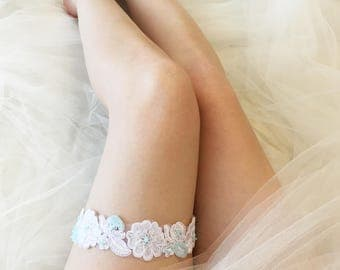 DELICATE BLUE | Something blue floral wedding garter, decorated garter, bridal garter, garter belt, flower garter