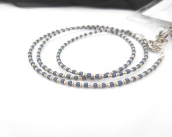 Lanyard Necklace, Badge Holder, Beaded Lanyard, Teacher Lanyard, Lanyard With ID Holder, Badge Lanyard, Magnetic Clasp, Silver, Blue