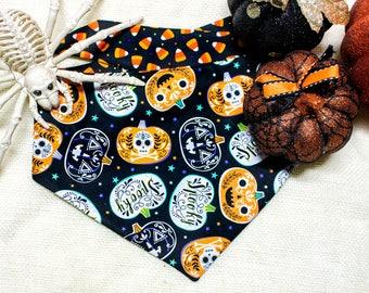 """Halloween Dog bandana - """"Plumpkin"""", Pumpkin dog bandana, candy corn dog bandana, Spooky dog bandana"""